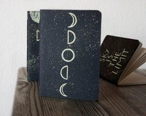 Pocket notebook/ moon phases journal / traveler's notebook refill / handpainted diary/ inspirational quotes/ black