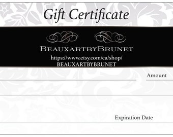 Gift certificate for original artwork