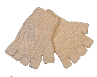 Adults Handknit Aran Fingerless Gloves