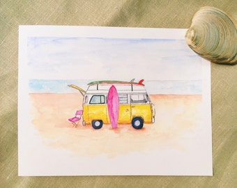 Art Print from original watercolor summertime and beach fun, surfboard, wanderlust, adventure, Home decor, Wall art, beach