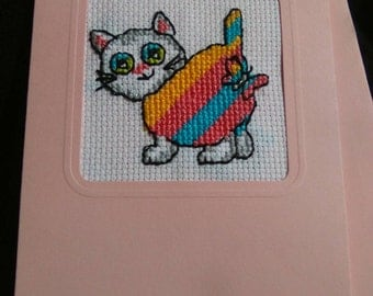 Cross stitch rainbow cat card for any occasion