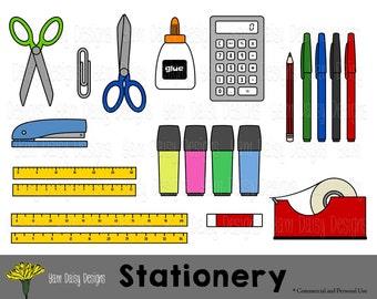Stationery Clip Art, Back to School, Scissors, Calculator, Instant Download, Digital Scrapbooking,
