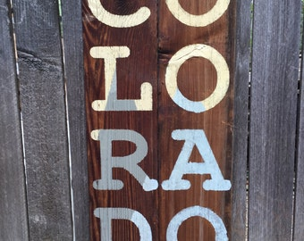 Colorado repurposed abstract, mountains, handpainted, wooden wall sign, rustic, purple mountains majesty