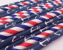 Nautical Paper Straws, 25 Ocean Straws, Anchor Paper Straws, Nautical Theme Party