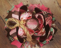 Future Rodeo Queen Over the Top Hair Bow, big bow, ott, stacked boutique bow, cowgirl bow, country girl bow, love horses bow