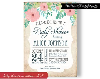 Flower garden Baby Shower Invitation -5x7Inches- 24 hours turnaround time.-digital file