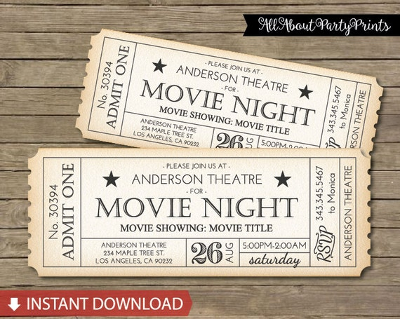 Instant Download Movie Ticket Printable Movie Marathon 8x3 – Movie Ticket Template