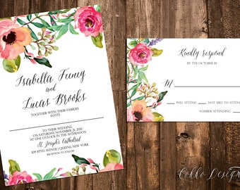 Isabella Printable Wedding Invitation (DIY Invitation), Watercolor Floral Invitation