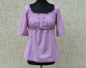Purple Lace Blouse Cotton Summer Blouse Boho Top Blouse  Womans Clothing Casual Folk Style Vacation Top Medium Large Size