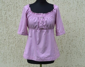 Cotton Summer Blouse Purple Lace Blouse  Boho Top Blouse  Womans Clothing Casual Folk Style Vacation Top Medium Size