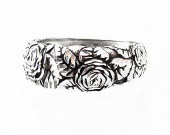 925 Silver Floral Diamond Cut Rose Band Ring Size 6