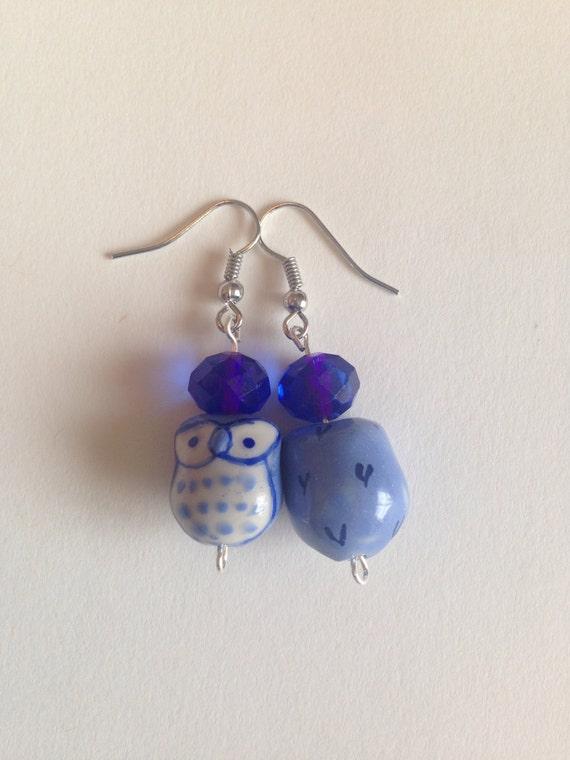 blue owl bead earrings