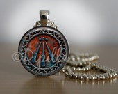 Awen Symbol Druid Pendant in Silver Plated Bezel with Chain or Copper with Leather