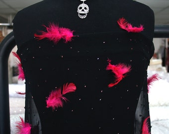 black silk chiffon fabric with pink feather and beads retro burlesque lingerie 100cm width
