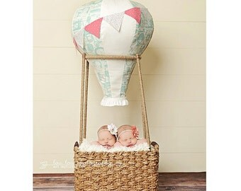 Hot Air Balloon Photography Prop, Baby,  Vintage, Travel Theme, Fly, Soar, Clouds, Birdseyeblue, Birdseye Blue, Nursery