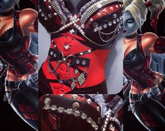 Harley Quinn Bra/ waist belt- Rave wear, rave outfit, edm, edc, festival, rave, halloween, costume