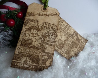 10 Traditional Father Christmas with reindeer Sleigh vintage gift tags