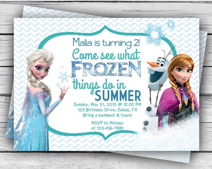 Blue Chevron Elsa, Anna, Olaf FROZEN BIRTHDAY INVITATION & Thank You Card, Frozen Birthday Invitation, Girl Birthday, Birthday Party