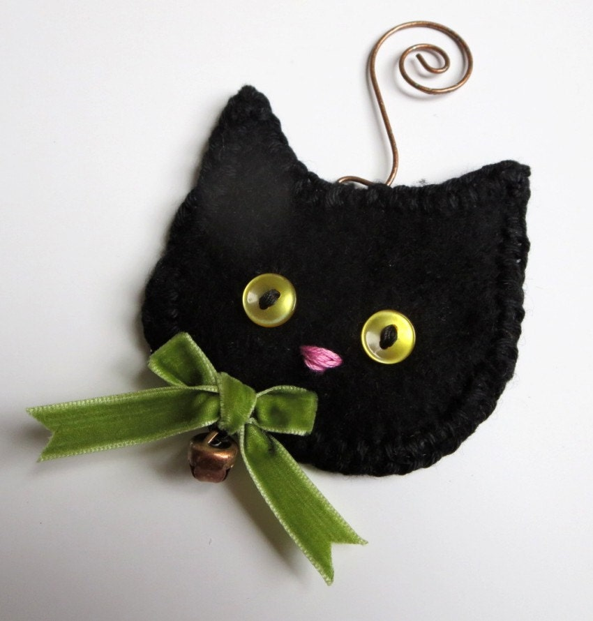Christmas Tree Made Of Black Cats: Christmas Decoration Black Cat Ornament PERSONALIZED Ornament