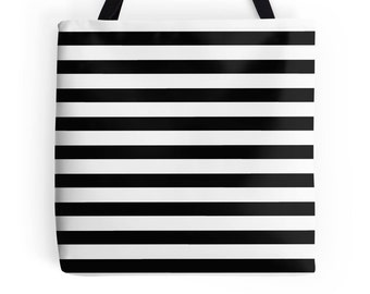 Black White Stripe Bag, Black and White Bag, Black White Striped Bag, White Black Accessories, Black and White