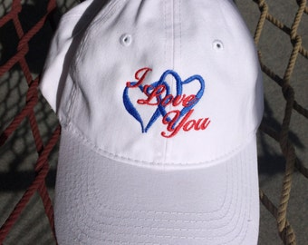 I Love You Cap - White with Red Letters/Blue Hearts