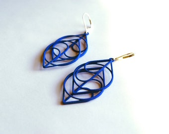 The Heart - Modern, Striking, 3D Printed Earrings. A new take on love. - Free Shipping with code FREESHIP