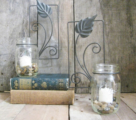 Metal Wall Sconces For Plants : Metal Wall Art Vintage Leaf Sconce Upcycle Wall by HomeRefinery1