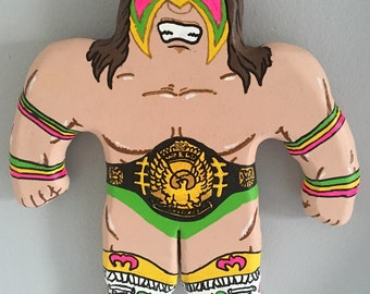 Hand Painted Wood Ultimate Warrior Wrestling Buddy