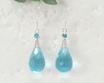 Genuine Natural LONDON BLUE TOPAZ Gemstone Earrings, Birthstone Earrings, 925 Sterling Silver Earrings, Handmade Earrings, Dangle Earrings