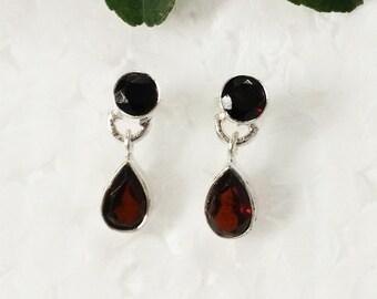 Beautiful NATURAL GARNET Gemstone Earrings, Birthstone Earrings, 925 Sterling Silver Earrings, Fashion Handmade Earrings, Drop Earrings