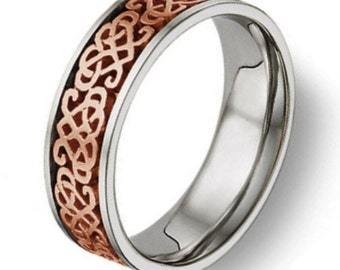 Celtic Heart Knot Wedding Band 14K Rose Gold and Titanium