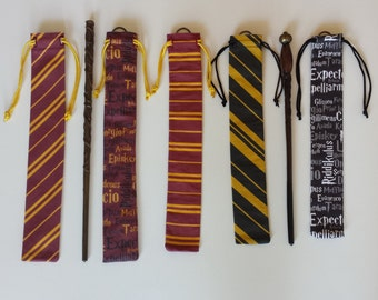 Harry Potter Inspired Magic Wand Carrier Holster Gryffindor Ravenclaw Hufflepuff Slytherin House Colors