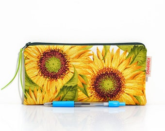 Sunflower pouch, Floral pencil case, Yellow flowers, Lined pouch, Small pouch, Gadget pouch, Make Up bag, Cosmetic case, Zipper bag, Gift