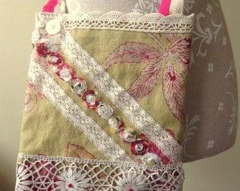 SALE-OOAK shabby chic lace and linen shoulder bag.