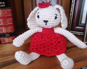 Amigurumi Bunny Girl. Crochet Rabbit Soft Toy.