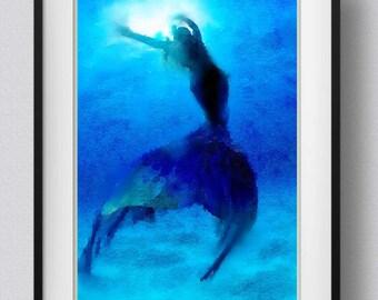 Mermaid,Art Print,Painting,Watercolor,home decor,wall art [No 1]