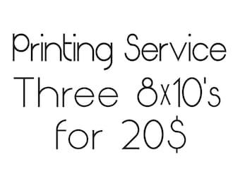 Printing Service for Three 8X10 Prints