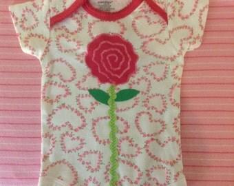 Baby girl rosebud appliqué onesie bodysuit