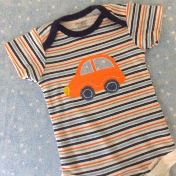 Baby boy car/initial appliqué onesie