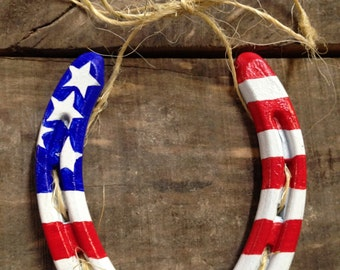 Vintage Horse Shoe with American Flag painted on it.