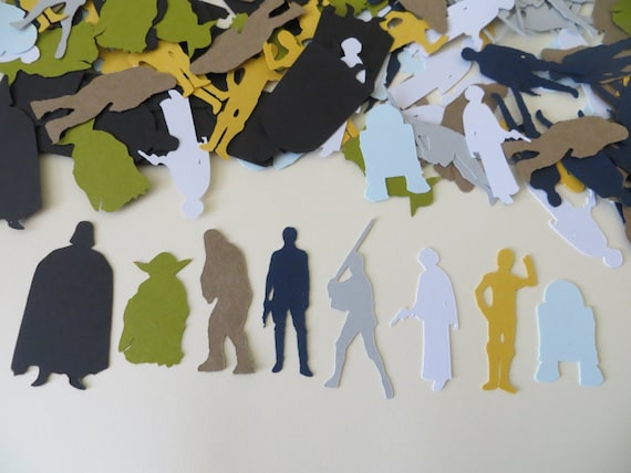 Star Wars Confetti - Set of 160 - Star Wars Party - Darth Vader, Princess Leia, Luke Skywalker, Han Solo, C-3PO, R2-D2, Chewbacca, Yoda