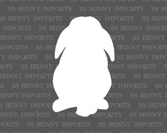 Mini lop rabbit silhouette decal, vinyl bunny sticker, glossy white