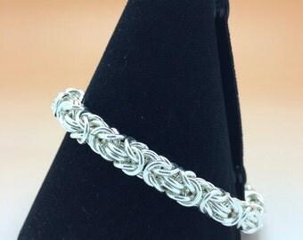 Chunky Sterling Silver Byzantine Unisex Bracelet Hallmarked.