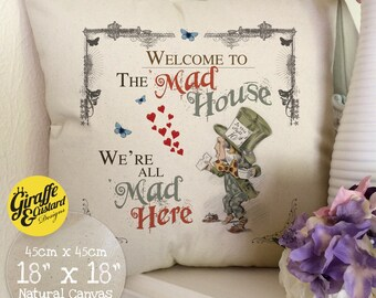 ALICE IN WONDERLAND Cushion Pillow Cover Mad Hatter Mad House