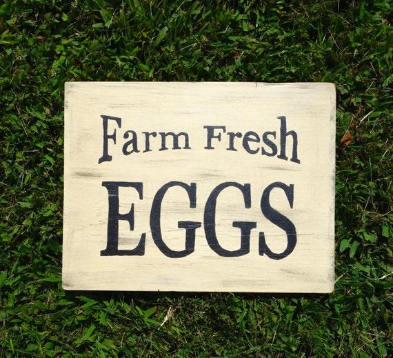Primitive Wooden Kitchen Signs: Farm Fresh Eggs Sign, Hand Painted Kitchen Sign, Primitive