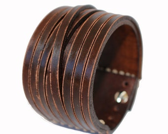 SB genuine leather bracelet leather cuff first class leather wristband men's leather bracelet worn brown