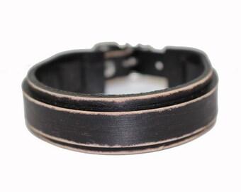 Leather bracelet genuine leather wristband first class leather cuff men's bracelet wrist band Worn Black