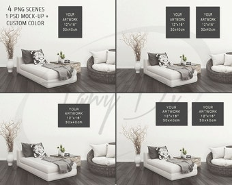 12x16 Living Room #4 Wall Interior, Portrait & Landscape Canvas, Set of 2 Canvases, Wall Art Display Mockup PNG PSD PSE, Sofa 18x24 30x40cm