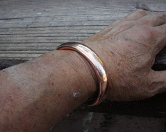 Large Copper Cuff  Bracelet. 6.5mm x 11mm Thick and Wide. 47g .