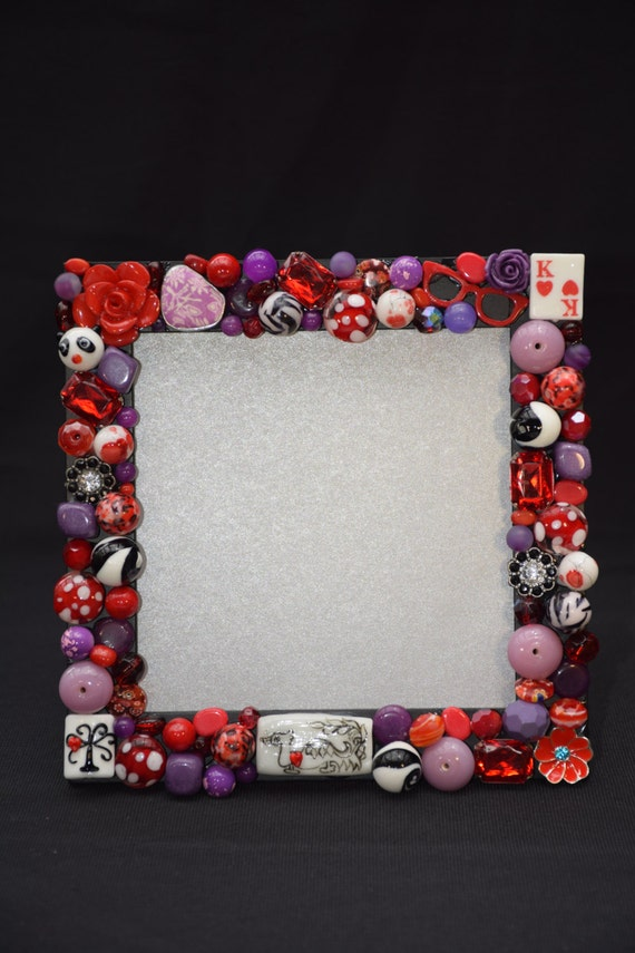 4in x 4in Funky Red and Purple Hand Decorated Frame